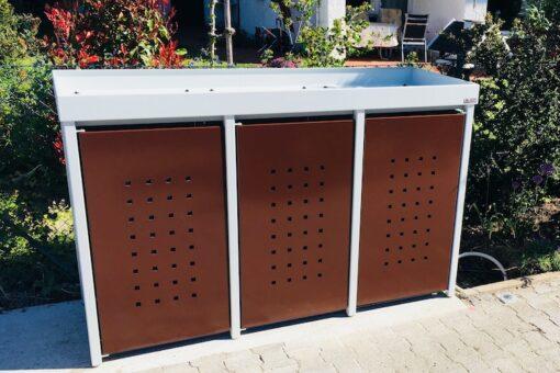 3er Mülltonnenbox Alu silber und braun