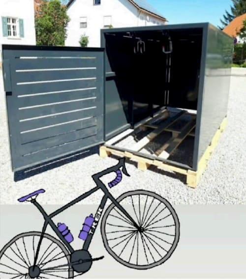 Fahrradbox Metall mit Aufhängung