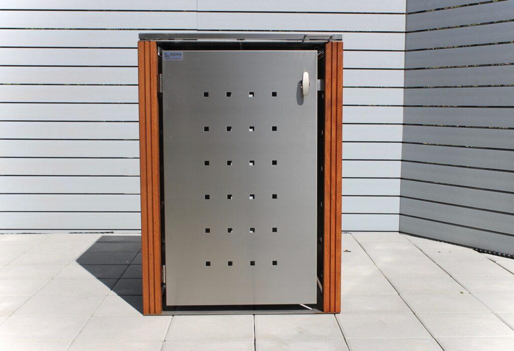 1er Mülltonnenbox Bangkirai Flachdach