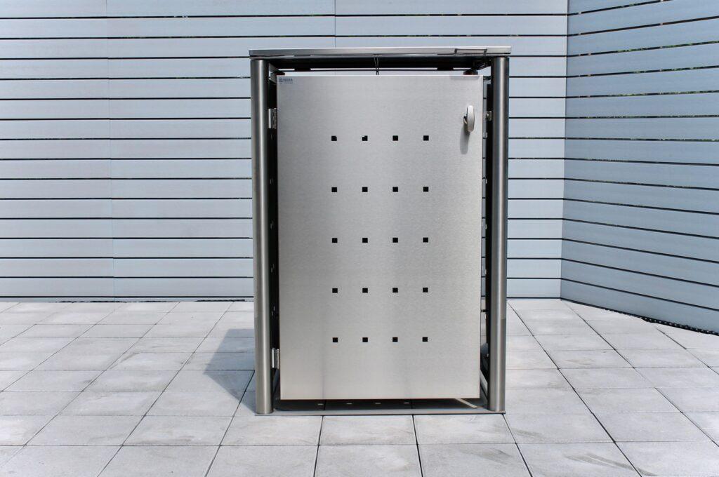 1er Mülltonnenbox Edelstahl Rundpfosten Klappdach front