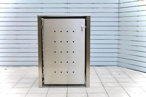 1er Mülltonnenbox Edelstahl Vierkantpfosten Flachdach