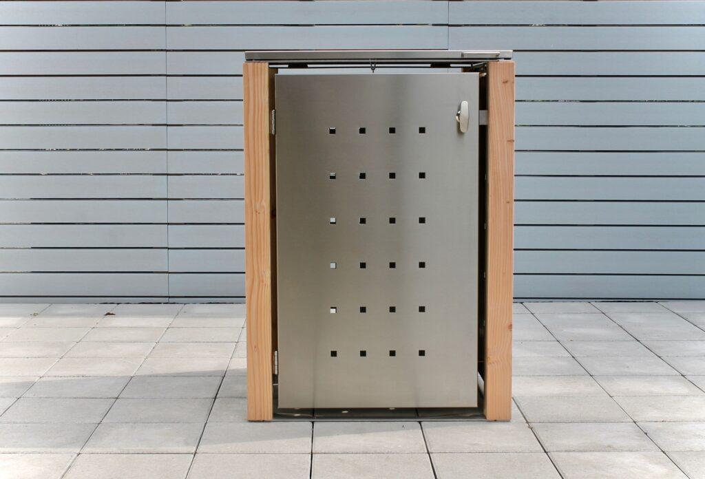 1er Mülltonnenbox Lärchepfosten Klappdach