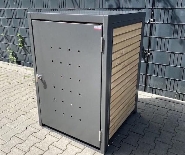 1er Mülltonnenbox Metall RAL Lärche