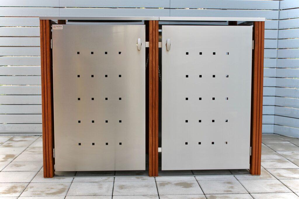 2er Mülltonnenbox Bangkirai Flachdach