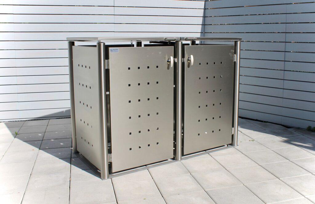 2er Mülltonnenbox Edelstahl Rundpfosten Klappdach