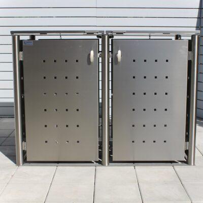 2er Mülltonnenbox Edelstahl Rundpfosten Klappdach front