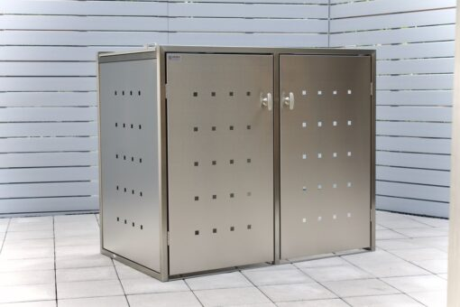 2er Mülltonnenbox Edelstahl Schiebedach
