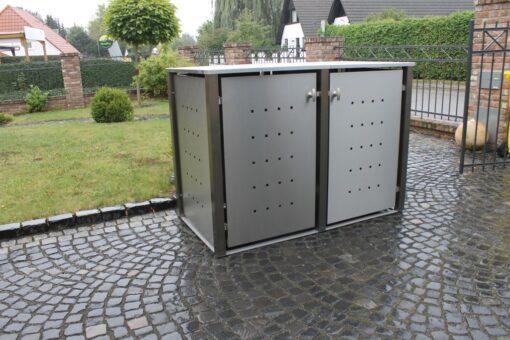 2er Mülltonnenbox Edelstahl Vierkantpfosten Flachdach