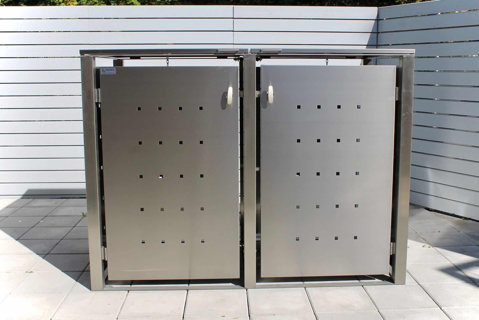 2er Mülltonnenbox Edelstahl Vierkantpfosten Klappdach