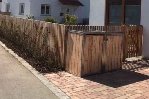 2er Mülltonnenbox Lärche vertikale Lattung Klappdach