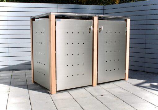 2er Mülltonnenbox Lärchepfosten Flachdach