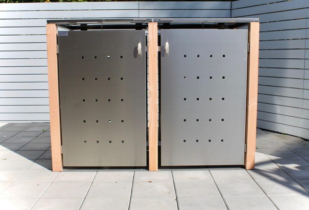 2er Mülltonnenbox Lärchepfosten Klappdach
