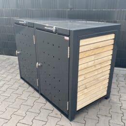 2er Mülltonnenbox Metall Farbe Lärche Klappdach