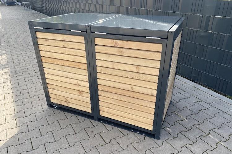 2er Mülltonnenbox Metall Farbe Lärche Rückseite