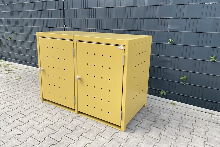 2er Mülltonnenbox Metall Farbe gelb