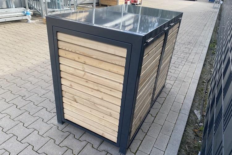 2er Mülltonnenbox Metall RAL Lärche Rückseite