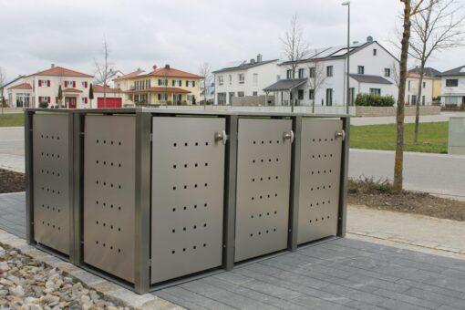 3er Mülltonnenbox Edelstahl Vierkantpfosten Flachdach
