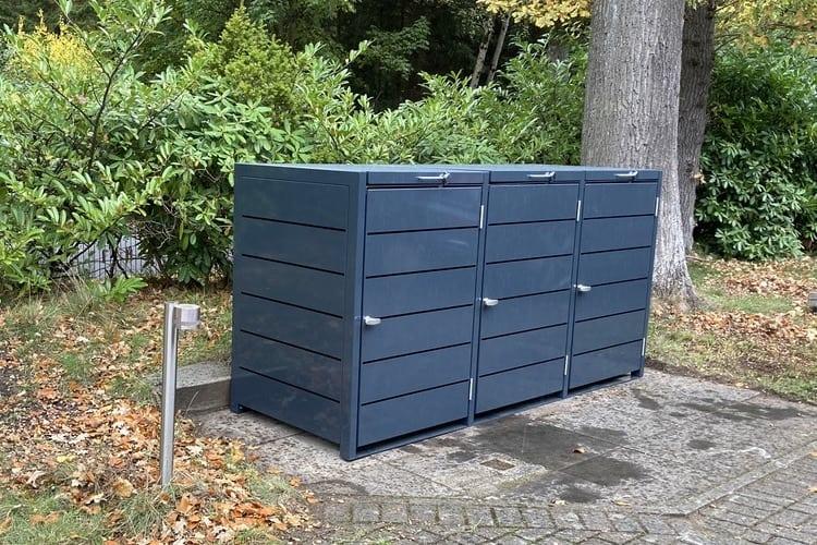 3er Mülltonnenbox Metall Farbe Lamelle