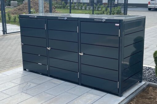 3er Mülltonnenbox Metall Farbe anthrazit front