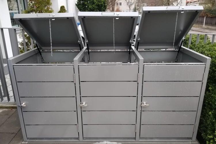 3er Mülltonnenbox Metall Farbe grau Klappdach