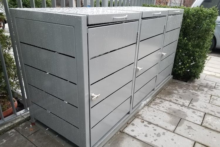 3er Mülltonnenbox Metall Farbe grau