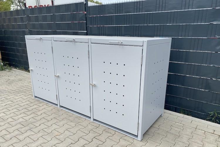 3er Mülltonnenbox Metall Farbe hellgrau Klappdach
