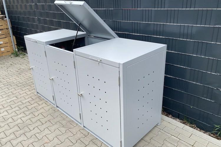 3er Mülltonnenbox Metall Farbe hellgrau