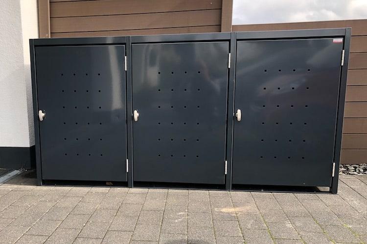 3er Mülltonnenbox Metall RAL