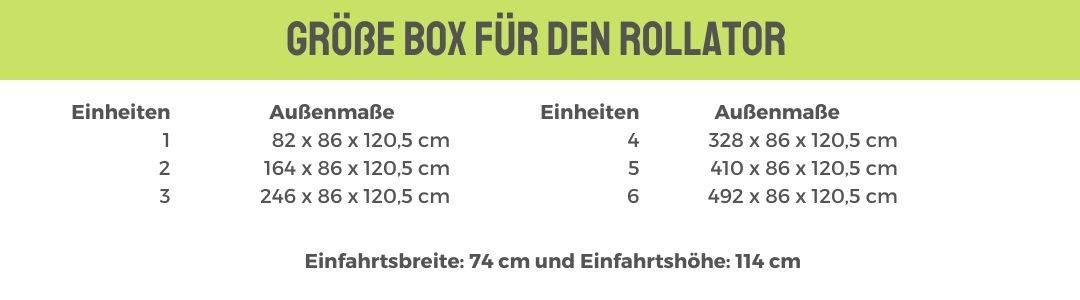 Größe Box für den Rollator