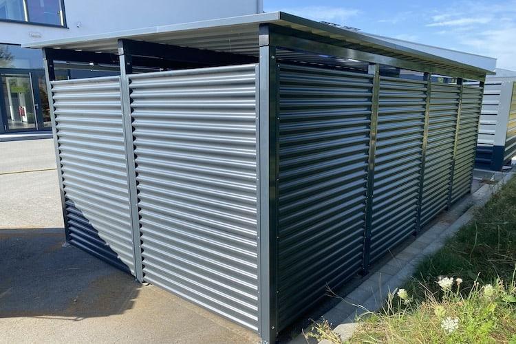 Mülltonnen-Haus Metall silber Größe L4